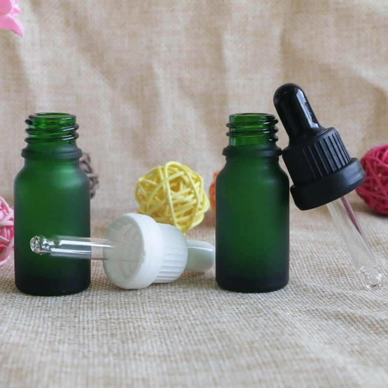 Frasco cuentagotas de 10ml de cristal verde escarchado para aceites esenciales, pipetas llenas de líquidos, frascos de aromaterapia, contenedor vacío rellenable, 10 Uds.