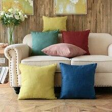 Housse de coussin en coton et lin couleur unie   30x4 0/40/45/50/55cm, simple, couleur unie, housse de coussin, taie doreiller lombaire pour canapé, housse de dossier