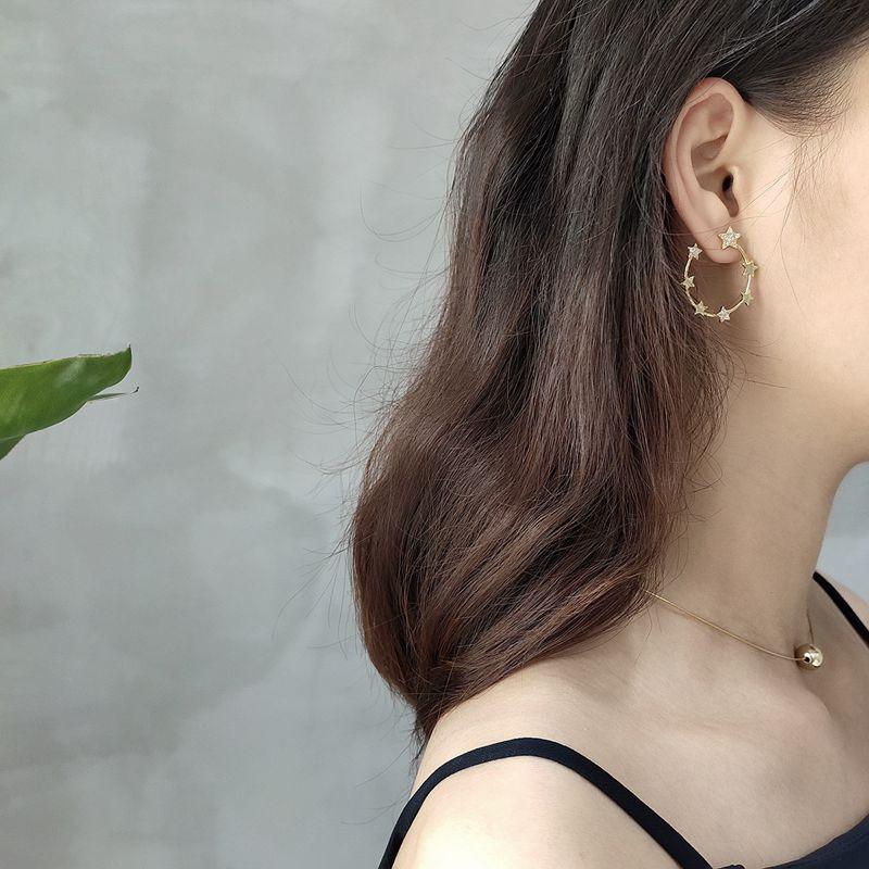 Silvology 925 Sterling Silver Dream Starry Sky Big Earrings Gold Creative Design Fashionable Stud Earrings for Women New Jewelry
