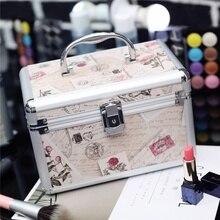 Profesjonalny aluminiowy przybornik do makijażu przenośne podróży biżuteria przypadku pociągu organizator kosmetyczny Box z lustrem uroda kosmetyczka przypadku