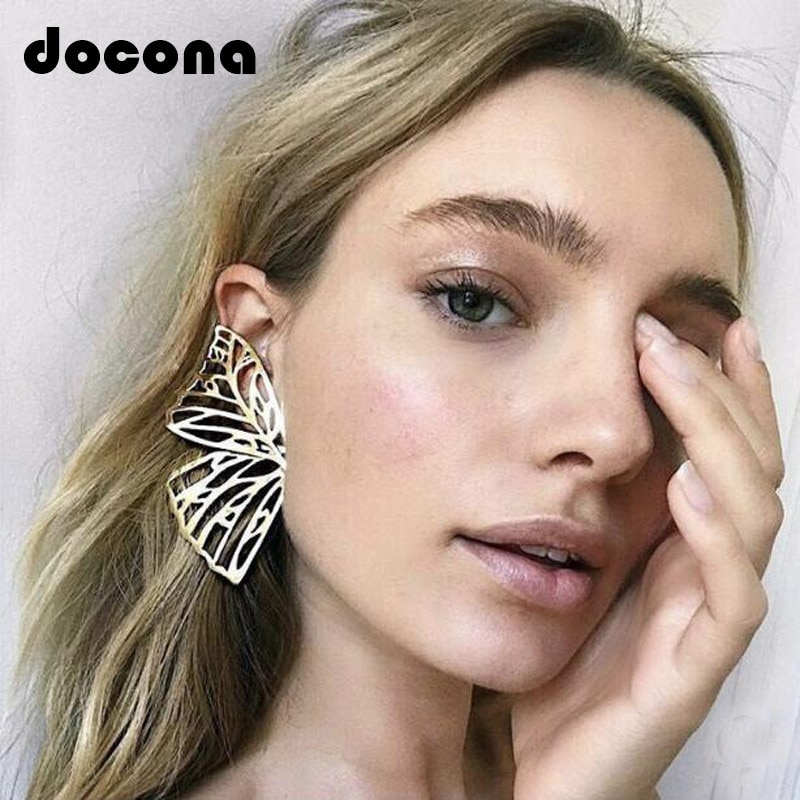 Docona Gold Hollow Butterfly Drop Dangle Earring for Women Metal Big Wing Pendant Statement Jewelry brincos 6218