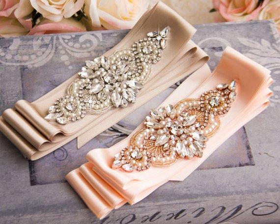 MissRDress or Rose strass ceinture de mariée cristal mariage ceinture perles de mariage ceinture pour mariée robes de demoiselle dhonneur JK844
