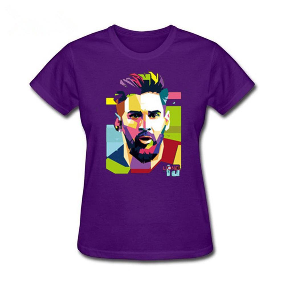 Camiseta de 100% algodón para chica 2019 Hip Hop jerseys de Messi para mujer tee