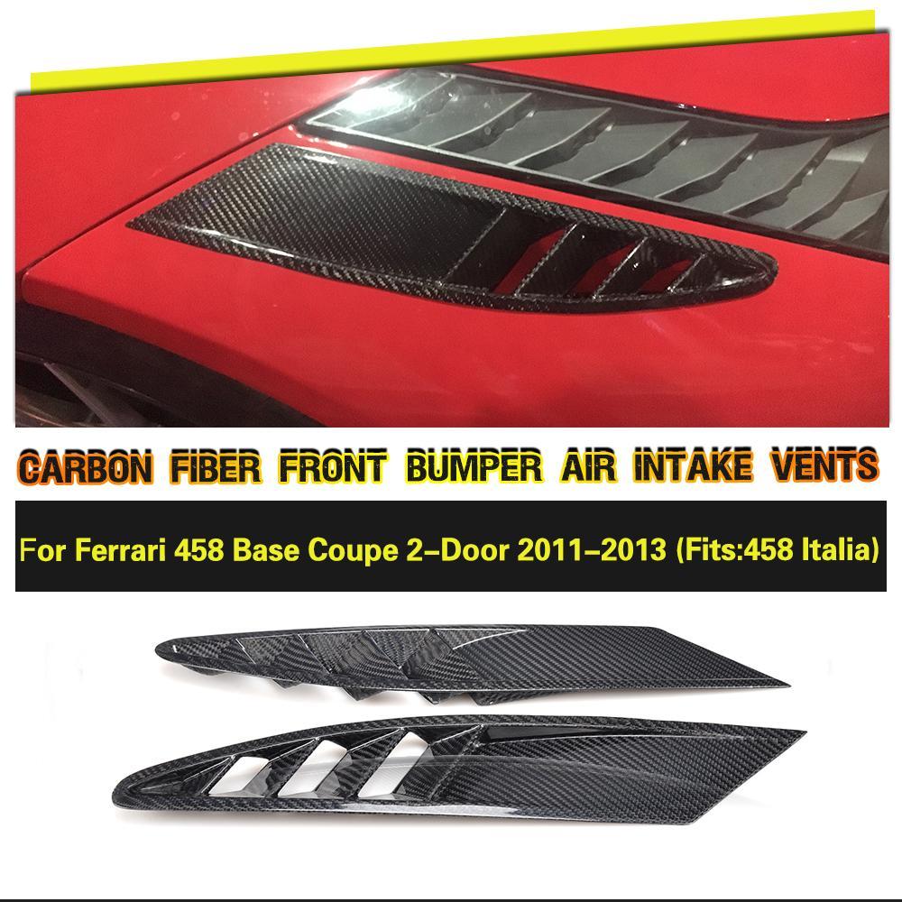 Lado Aberturas De Entrada de Ar de Fibra De carbono Capas de Malha Caso para Ferrari 458 Coupe Base de 2 Porta 2011 2012 2013 Carro acessórios Peças 2 pcs
