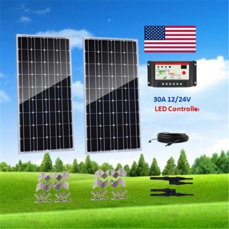 200W monocristalino Panel Solar PV 2x100 W Kit de Panel Solar fuera de la red sistema PWM 30A controlador LED para batería de 12V barco RV