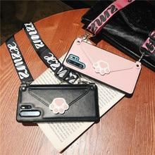 Etui pour téléphone portable avec patte de chat, enveloppe en cuir, étui pour smartphone avec fente pour carte, sangle pour iphone 6 7 8 xs max BIA368