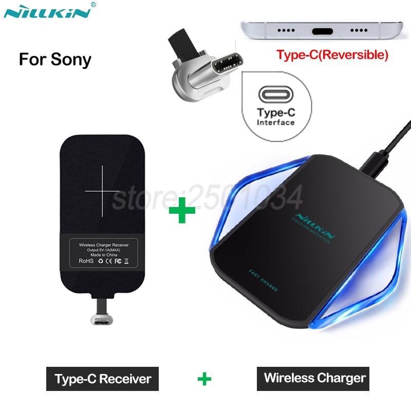 Cargador inalámbrico Nillkin Qi para Sony Xperia XA1 XA2 XZ XZ1 Compact Plus Ultra Premium L2 L1 cargador inalámbrico + receptor tipo C