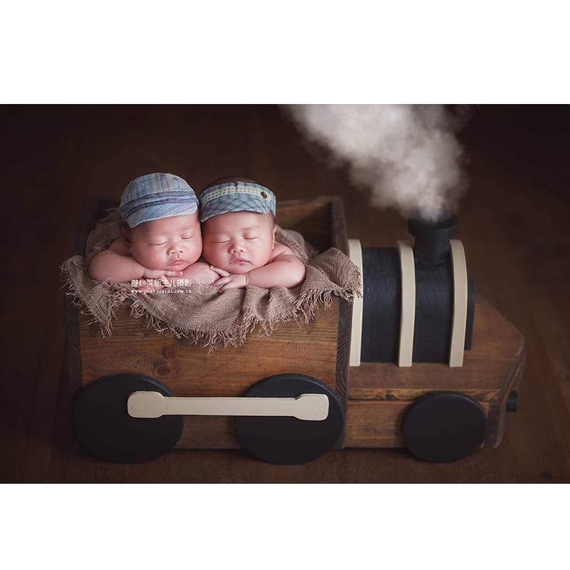 Newborn Wooden train Photography Basket Props Infant fotografia Accessories Baby Boy Girl Sport Theme Photo Shoot Prop bebe foto