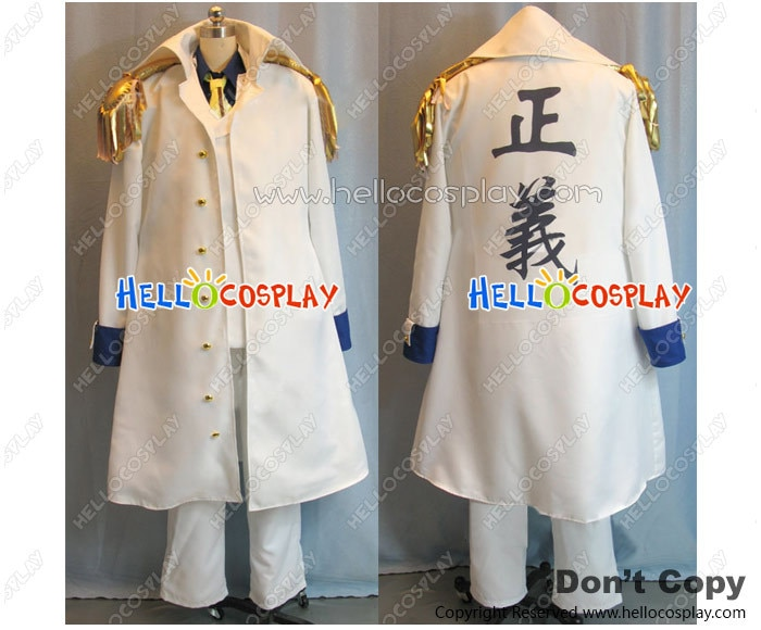 Traje de Anime japonés de una pieza Cosplay Aokiji traje kuzan Almirante Sakazuki abrigo blanco H008