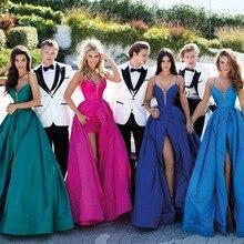 Royal Blue Satin Abendkleid Lange Sexy V-ausschnitt Grün Frontseiten-schlitz Formale Hochzeit Party Kleider Robe De Soiree