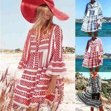 Women Summer Boho 3/4 Sleeve V-Neck Loose Mini Dress Party Cocktail Beach Casual Sundress AU 2019 New