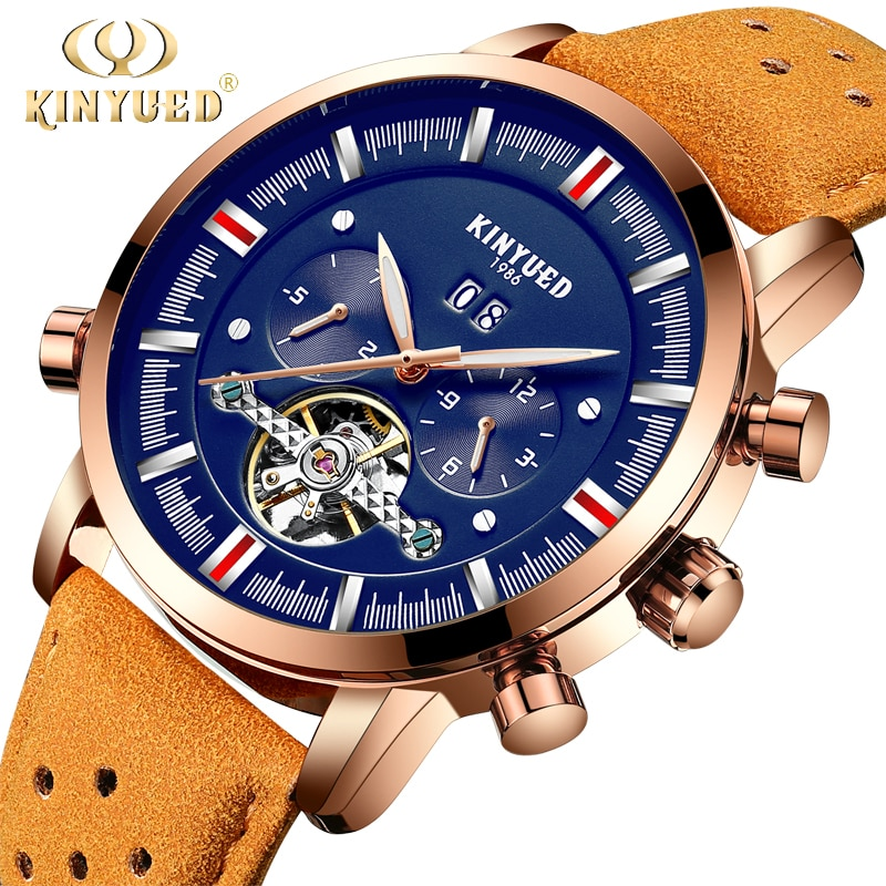 Relojes mecánicos de marca superior para hombre KINYUED, reloj automático de Tourbillon perpetuo de lujo, reloj de esqueleto, calendario Masculino