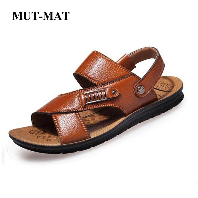 Mut-mat hombres sandalias nueva playa de verano Vacaciones Viajes hombres zapatos de cuero genuino Casual talla grande 38 a 48, Hombre Zapatos