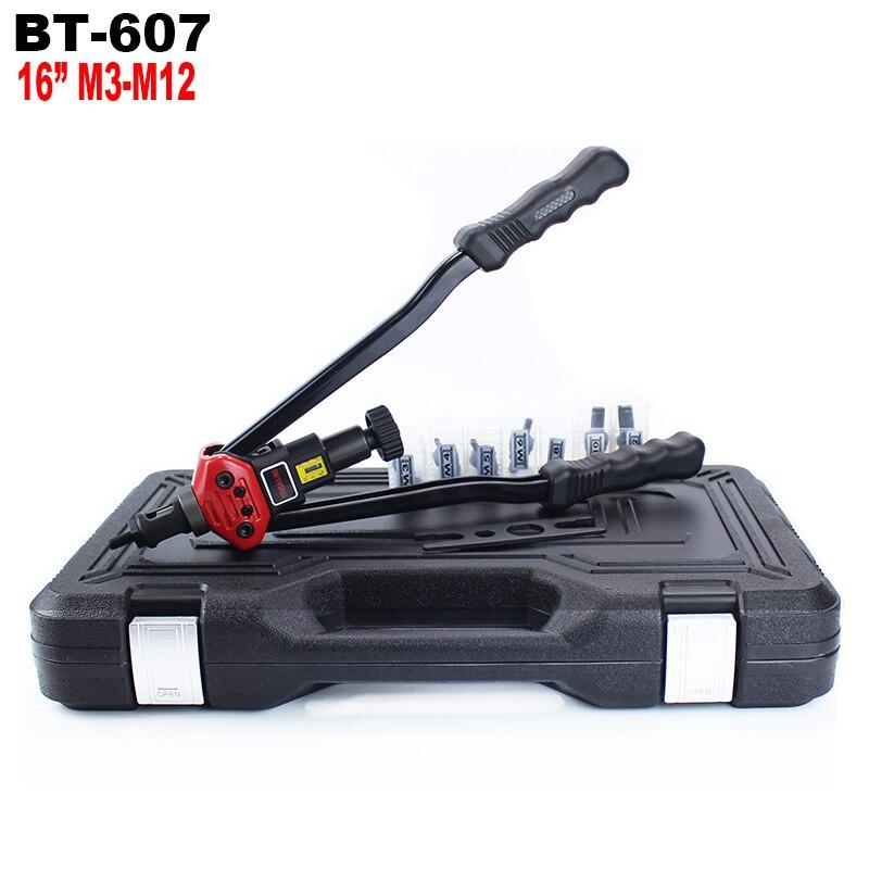 """YOUSAILING BT-607 16 """"(400 MM) Mano ciega remache manija remache tuercas pistola con caja de plástico M3/M4/M5/M6/M8/M10/M12"""
