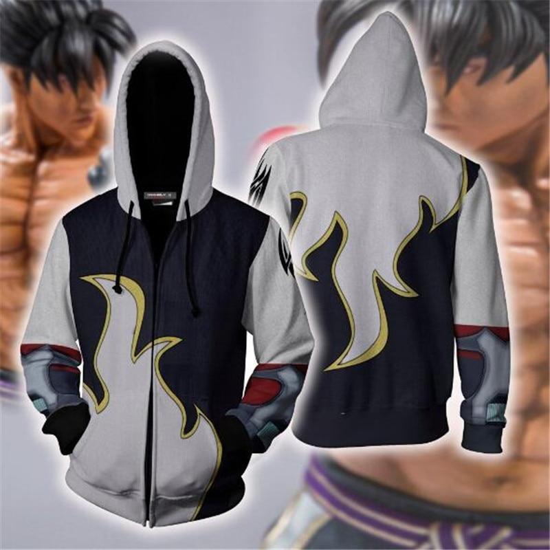 Fighting Games Tekken Kazama Jin Cosplay Costume Zip Hoodie Cosplay Men's and Women's Casual Sports Sweater 2019 Brand New