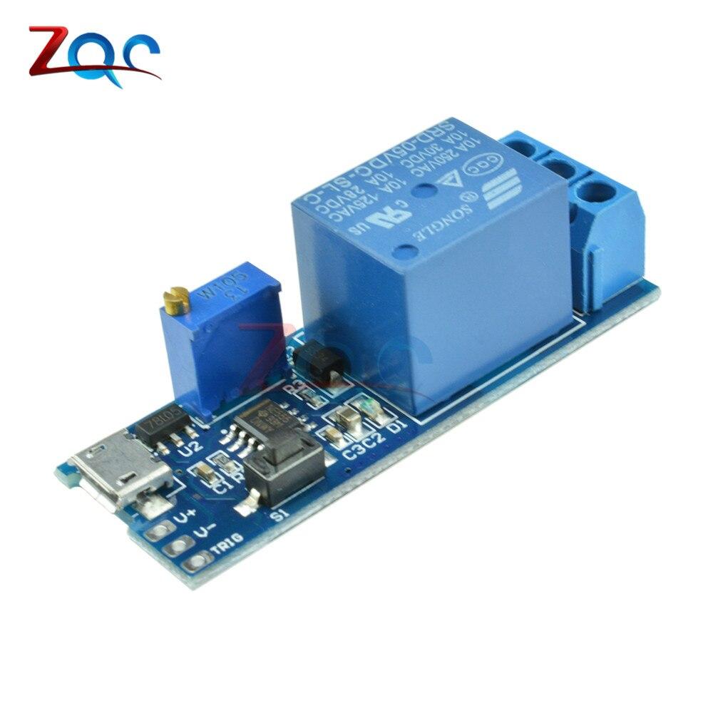 Amplio voltaje DC 5 V-30 V Micro USB potencia ajustable retardo relé temporizador Control temporizador retardo conducción relé interruptor Módulo 12V 24V