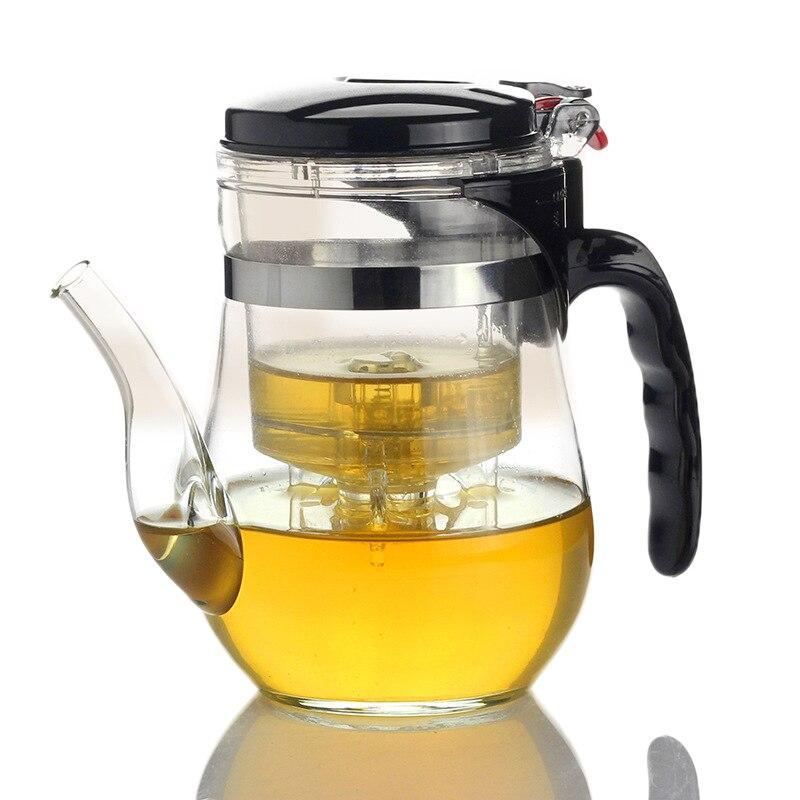 New design 500ml Heat Resistant Glass Tea Pot,Long mouth pot Flower Tea Set Puer kettle Coffee Teapot Convenient Office Teaset