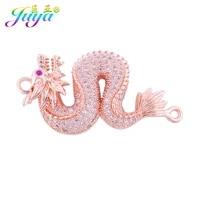 juya diy handicraft jewelry accessories micro pave zircon copper dragon charm connectors for women men talisman jewelry making