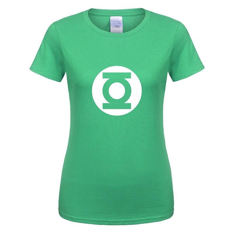 Women New Green Lantern T Shirt The Big Bang Theory T-shirt Womans Cotton Sheldon Cooper Super hero T-shirts Girl Female Tops