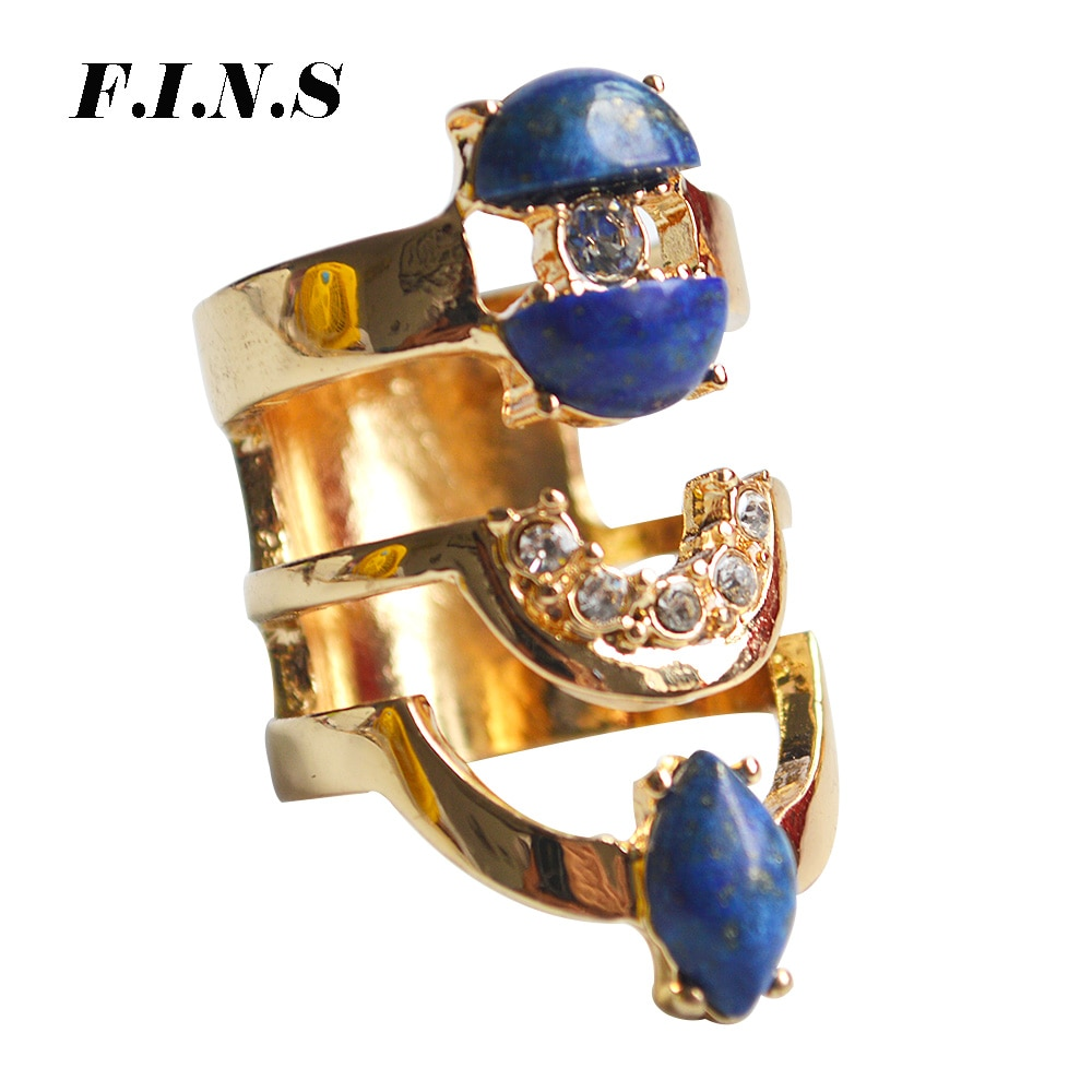 F.i.n.s na moda anéis de ouro largo para mulher boho dedo anel com pedra vintage grande traje jóias anéis decorações femininas