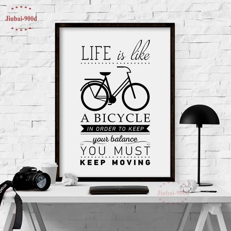 Cuadro artístico impreso sobre lienzo con cita de vida, cuadro de bicicleta para decoración del hogar, decoración del hogar S001