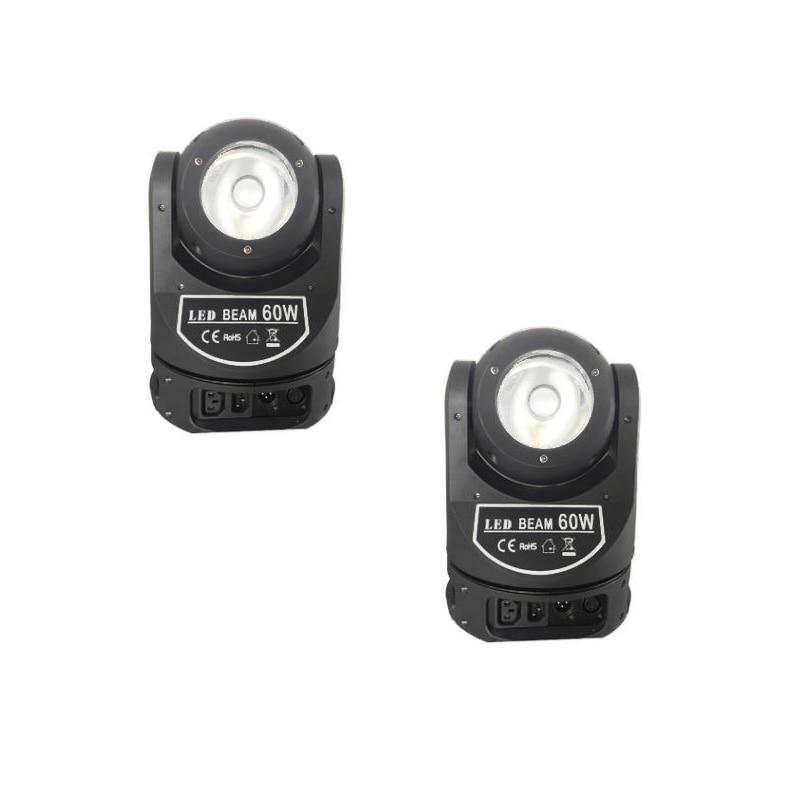 2 unids/lote etapa cabeza móvil de Lira led de 60 vatios dmx movimiento controlador con cabezal 60w barato led cabezas