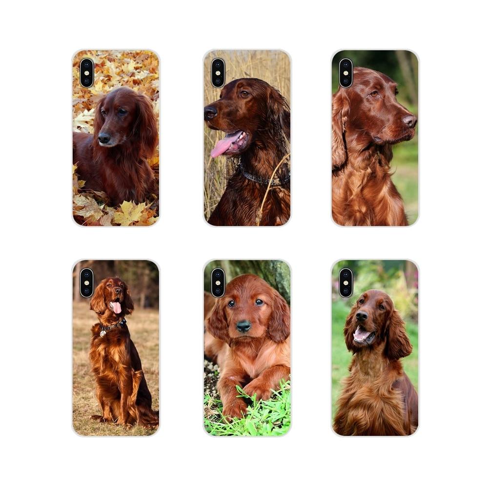 Para apple iphone x xr xs max 4 4S 5 5S 5c se 6 6s 7 8 plus ipod touch 5 6 irlandês setter cão arte acessórios do telefone capa