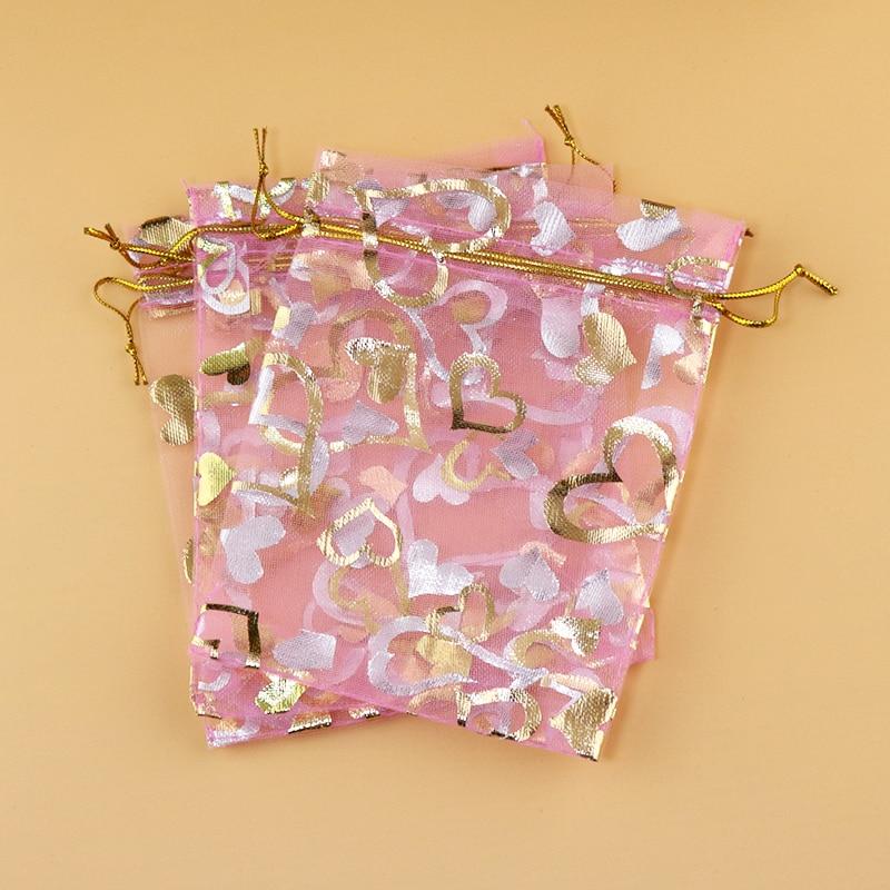"17x23 cm (6.69 ""x 9.05"") 100 stks Roze Hart Organza Tassen Bruiloft Sieraden Verpakking Organza Gift Zakjes Met Trekkoord"