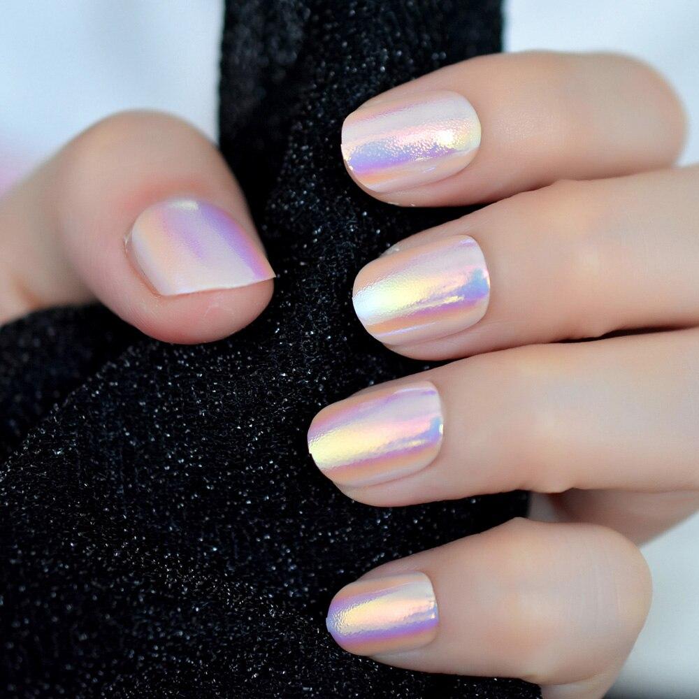 24 шт., хромированные накладные ногти в виде единорога, переливающиеся розовые короткие полностью накладные акриловые ногти с клеем, стикер 12 размеров