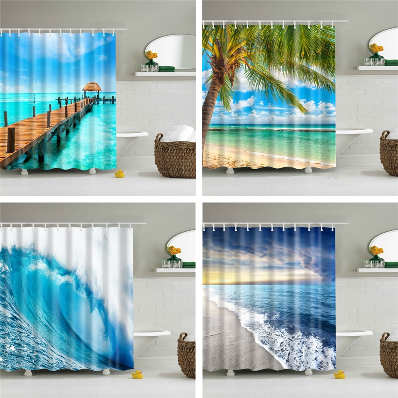 Cortinas de ducha de tela a prueba de agua, conjunto de cortina de tela para baño, cortinas de decoración de pantalla de paisaje de playa