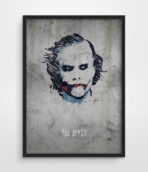 O Cavaleiro Das Trevas Coringa Cartaz Arte Da Parede De Super-heróis da DC Comics Heath Ledger Superhero Cópia Da Arte Decoração Do Quarto Da Arte Da Parede Dos Miúdos imagem