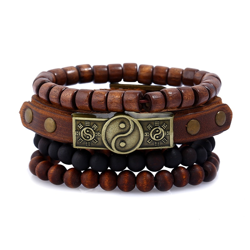 4pcs/set Vintage Boho Dark Brown Leather Copper Taoism Health fitnessTag Charm Wood Beads Layers Bracelet Bangles Man Jewelry