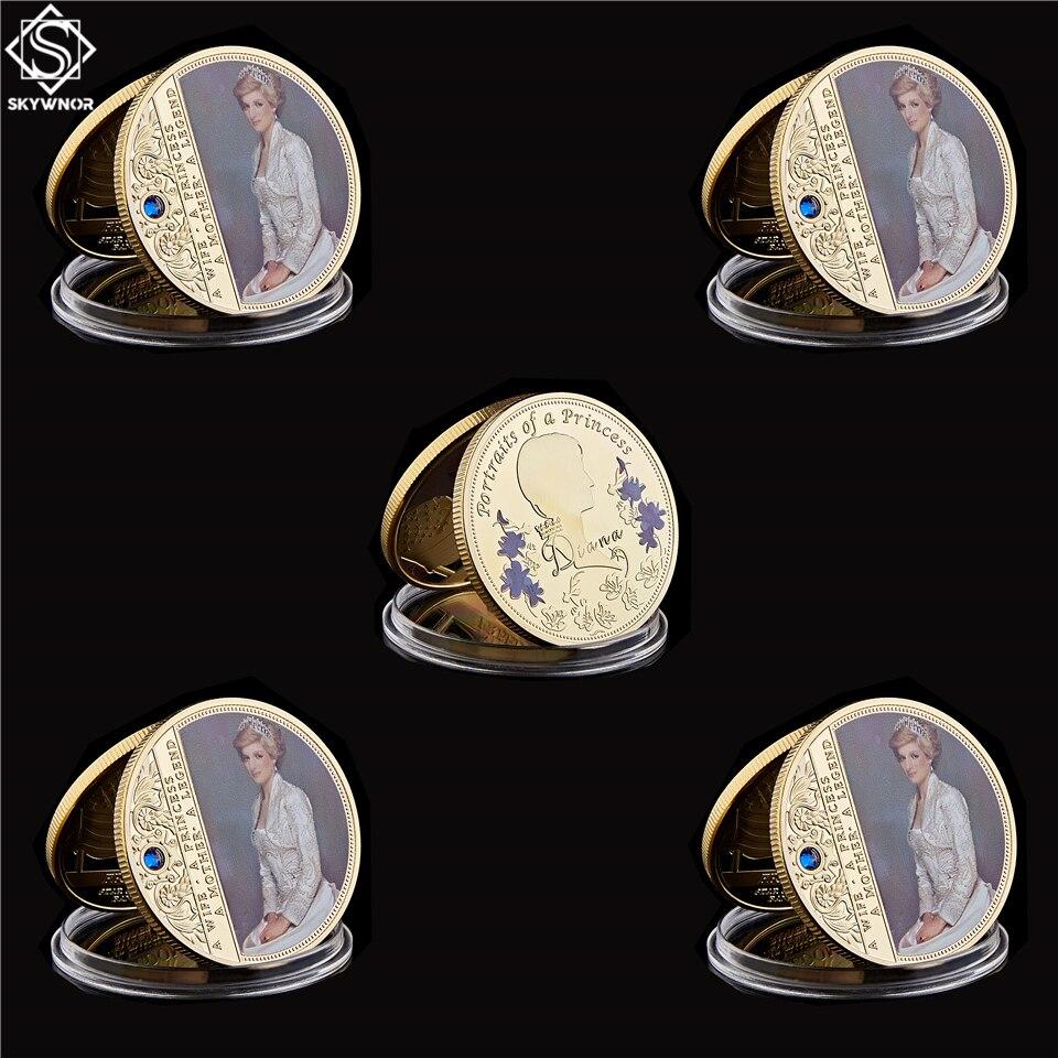 5PCS UK Diana Prinzessin Crown Rose Mit Diamant Letzte Rose Souvenir Gold/Silber Überzogene Münze