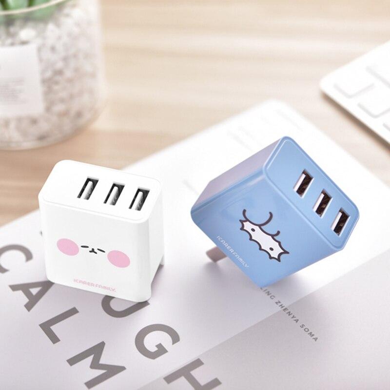 Adaptador de carregamento 110 v-220 v do curso do usb do carregador 3 do telefone móvel da parede dos desenhos animados bonitos para o iphone ipad samsung oppo huawei xiaomi