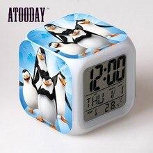 Penguins of Madagascar Alarm Clock Led Light 7 Color Change Lcd Display Watch Desk Table Square Digital Vintage