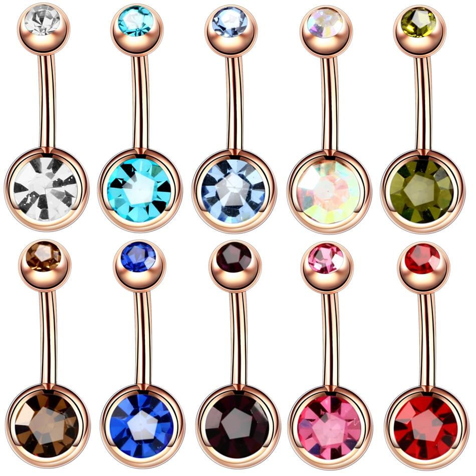 Piercings de acero para Ombligo de 14G, Piercing para el Ombligo de oro rosa Nombril, joyería para el cuerpo, Piercing para el Ombligo