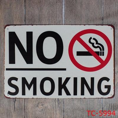 Bar Decor Warning Metal Plates Vintage Metal tin sign pub cafe Shop No Smoking Restaurant Metal signs Plaque