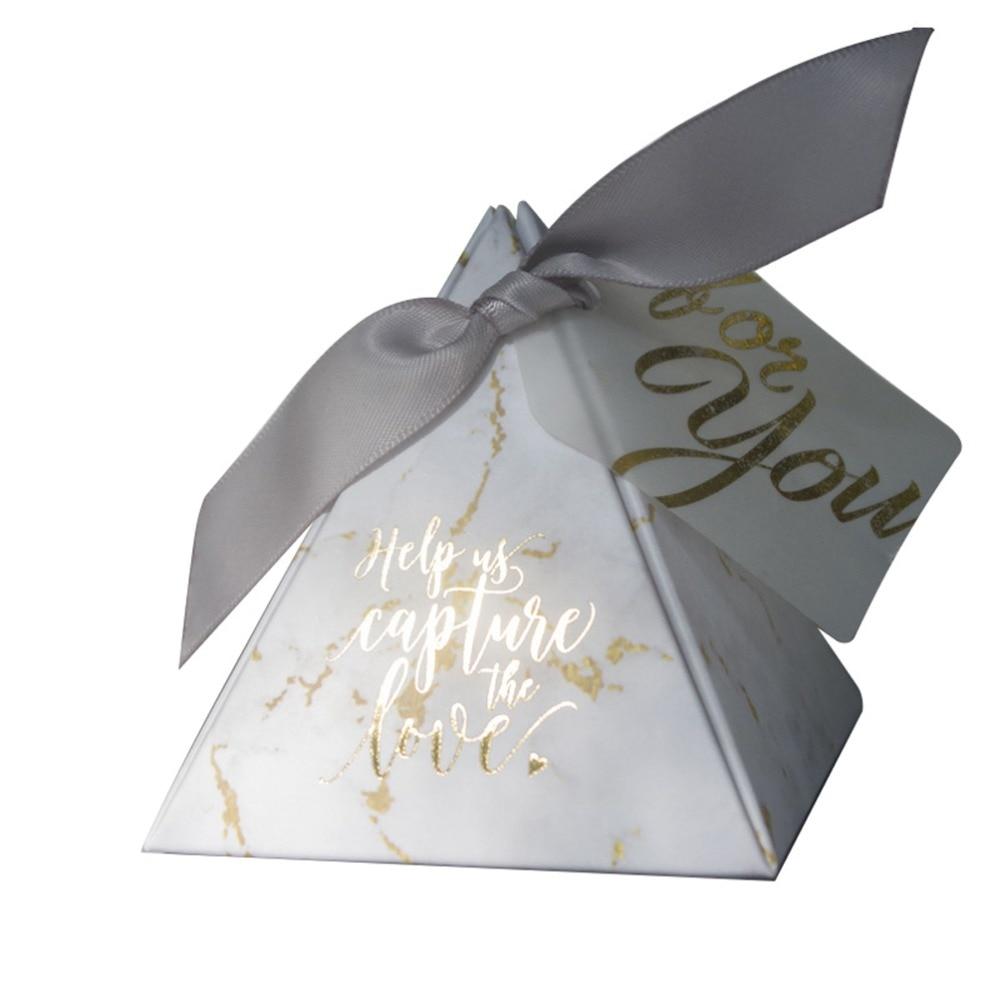 YOURANWISH 50 шт./лот Творческий мраморность стиль конфеты Коробки Пирамида свадебной вечерние наборы; детский душ спасибо подарочная коробка ко...