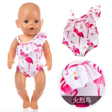 Doll Clothes Fit 18 inch 43cm Born New Baby Doll Red Lips of Flaming Tetrafolium Swimsuit Accessorie