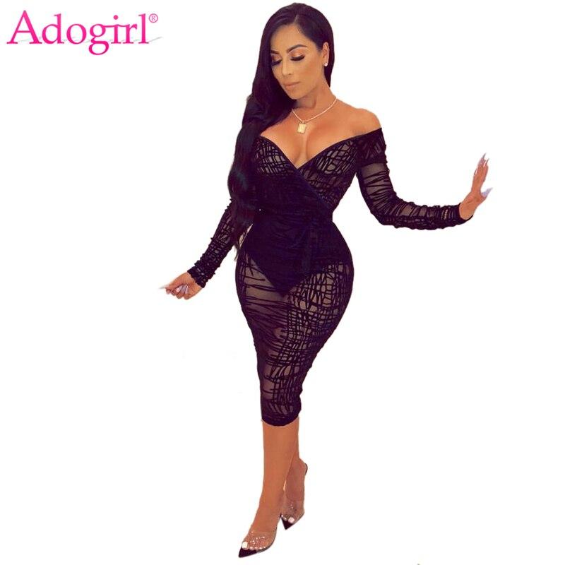 Adogirl Ruffle Sheer Lace Bodycon vestido de talla grande S-4XL mujeres Sexy cuello pico de hombro de manga larga vaina Midi Club Party Dress