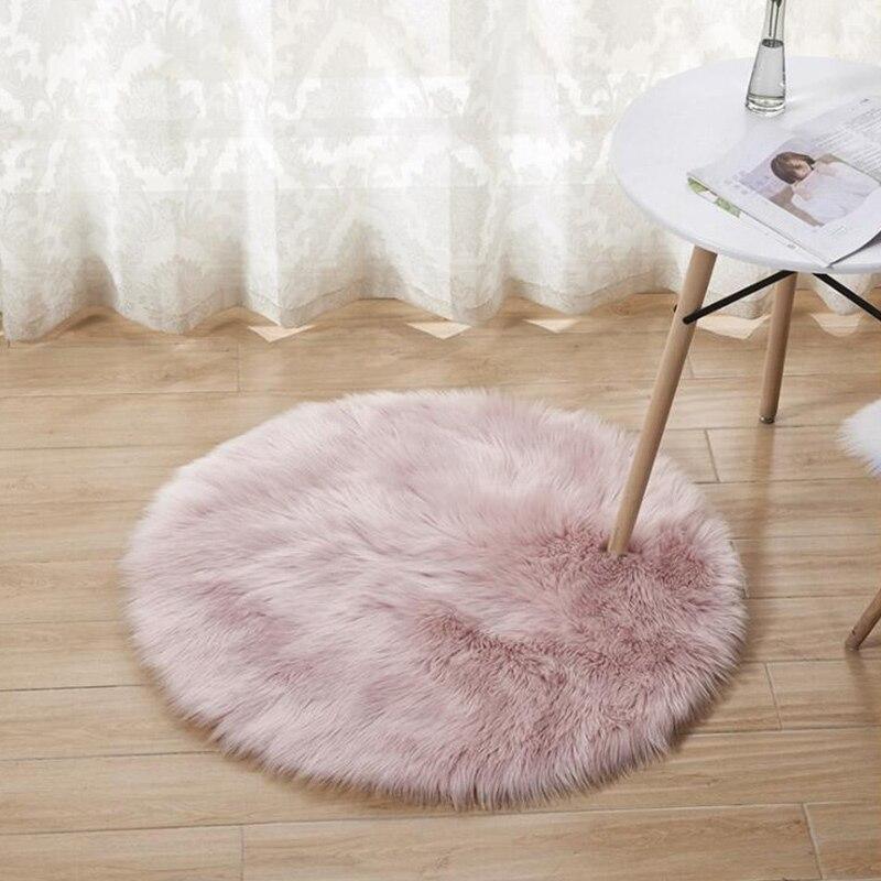 Tapetes de pelúcia área redonda super macio sala estar quarto casa shag tapete lã artificial