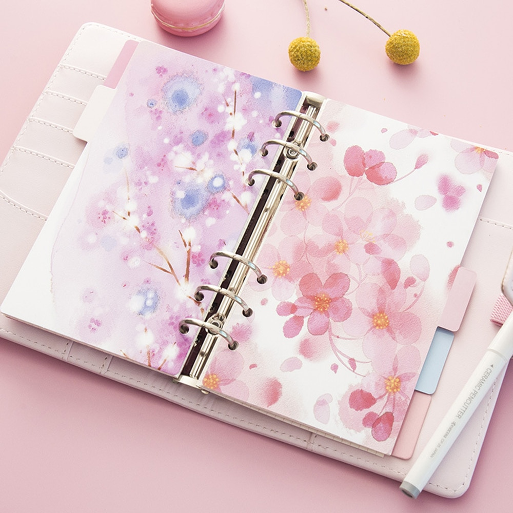 Blossoms de cerezo Rosa serie A5 A6 cuaderno espiral separador de hojas sueltas páginas recambio de cuaderno Papel de cuaderno páginas interiores