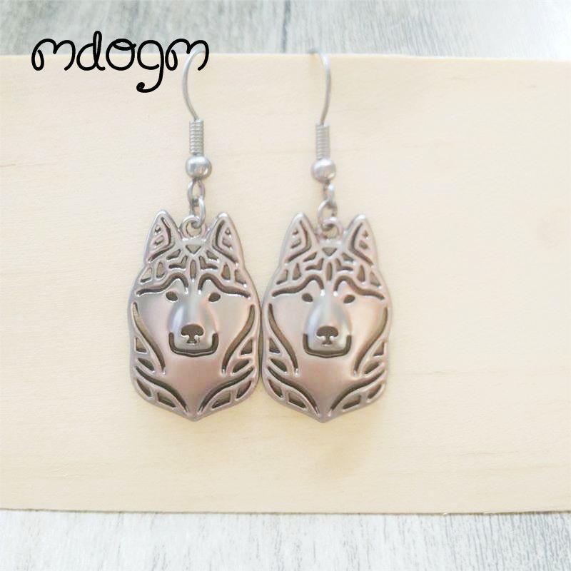 2020 Husky perro Animal colgante pendientes de gota de plata-placa Kawaii Verano Divertido moderno Metal joyería para mujeres niñas mujer E008