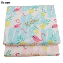 Syunss Diy Patchwork Cloth For Quilting Baby Cribs Cushions Dress Sewing Tissus Blue Pink Flamingo P