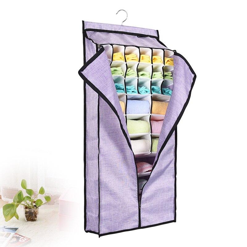 Bolsa de almacenamiento colgante con cubierta 1 Uds organizador de guardarropa sólido multifuncional con 31 celdas bolsa de almacenamiento fácil de ordenar para ropa interior