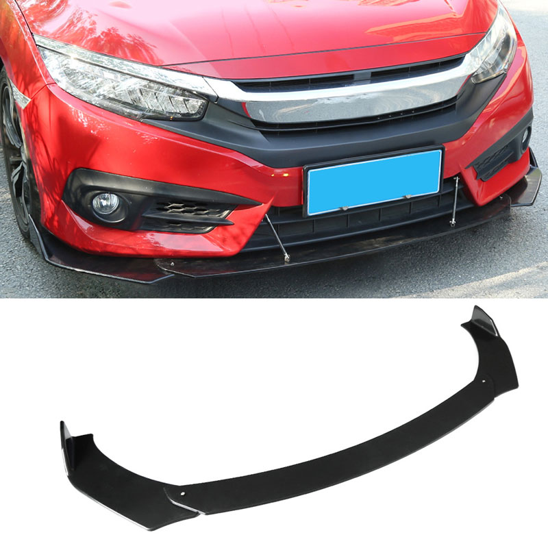Car Universal Sports style Black arc-shaped ABS Front Bumper Lip Body Kit Spoiler