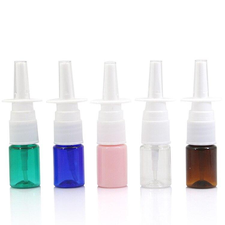 10 adet/grup 5 ml renkli burun spreyi PET sprey şişe plastik şişe makyaj sıvı dağıtım aracı püskürtücü aracı PJ55-10
