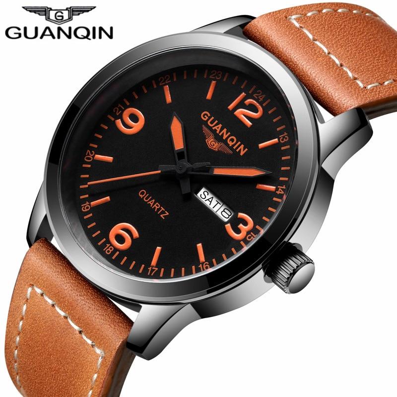 Relojes deportivos a la moda para hombre marca Quartz GUANQIN fecha analógica semana reloj militar resistente al agua reloj Masculino