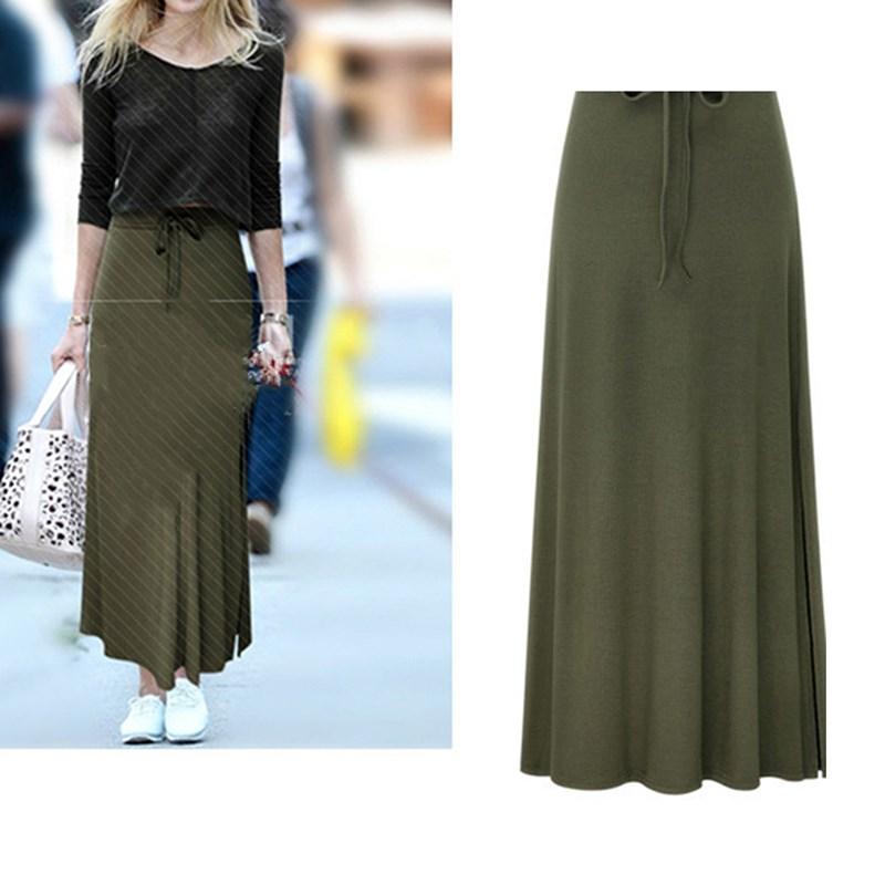 Длинная Плиссированная юбка большого размера, осенне-зимняя винтажная длинная юбка с поясом и высокой талией