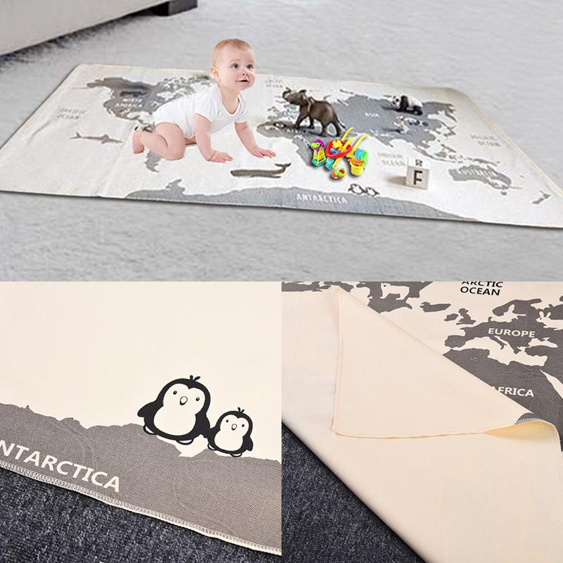 Animal World Map ewborn Baby Play Crawling Carpet Soft Crawling Infant Kids Floor Adventure Climbing Racing Games Baby Blankets